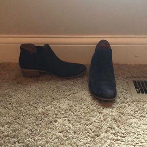Navy Blue Suede Low-Heel Ankle Booties